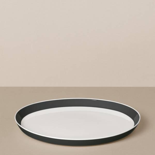 Speiseteller in Weiß/Schwarz